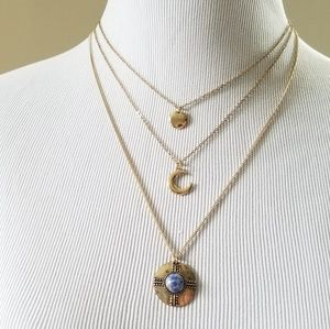 Tiered crescent moon and stone layered necklace